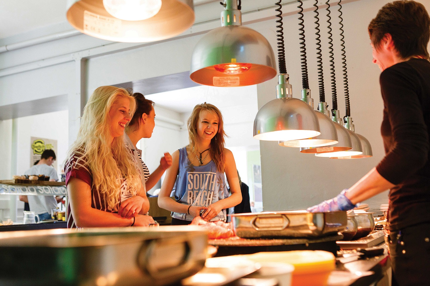 Students getting food in Bicton College's restaurant