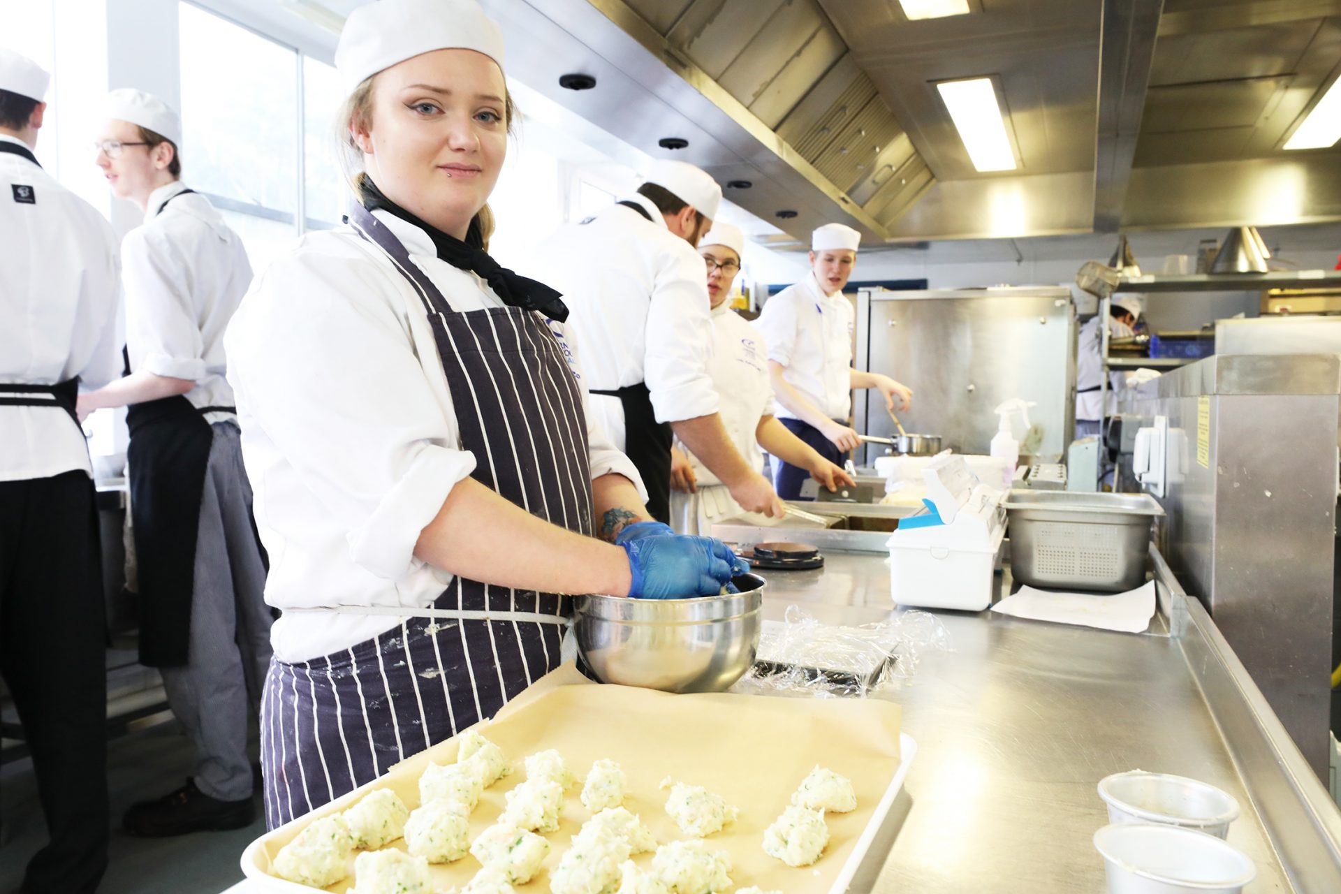 Student training in bakery kitchens at Cornwall College