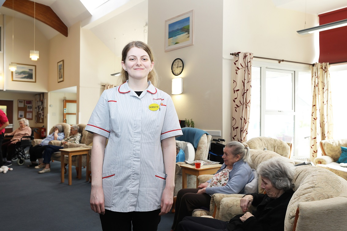 Healthcare assistant in a care home working for Cornwall Care