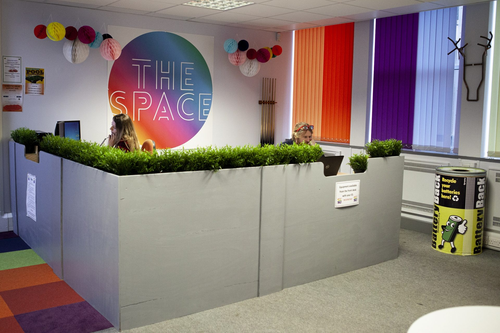 Reception area at The Space at Cornwall College St Austell