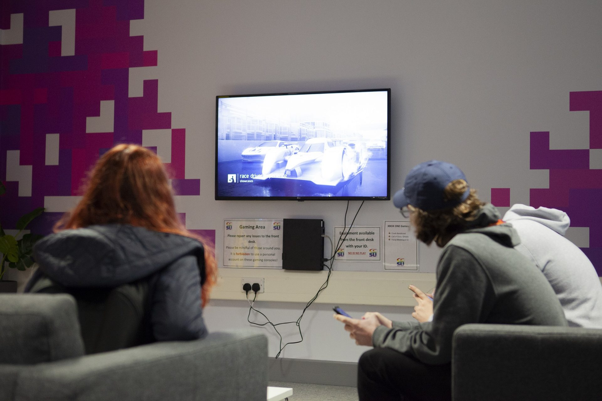 Students gaming in The Space at Cornwall College St Austell