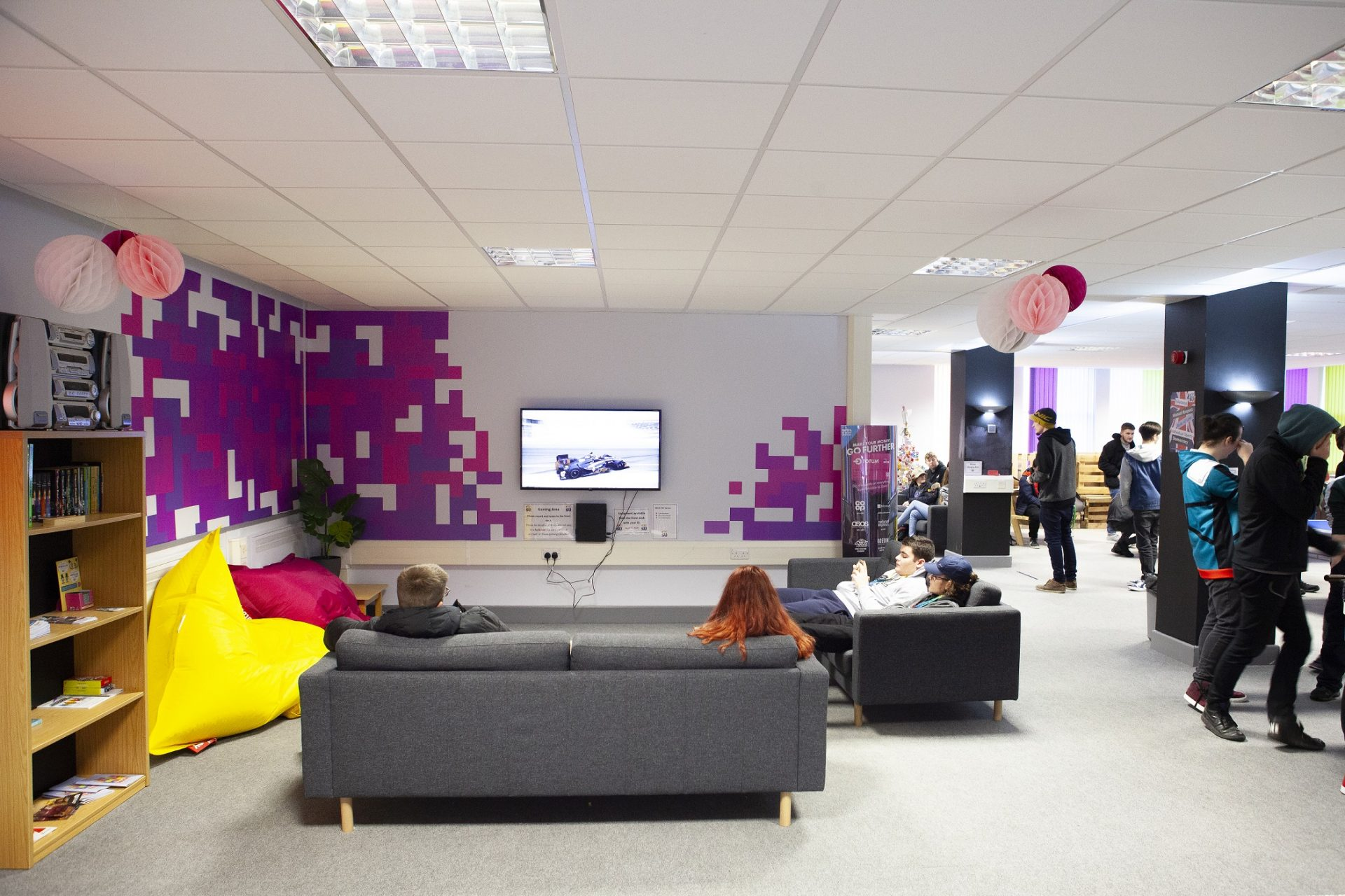 Students relaxing in The Space at Cornwall College St Austell