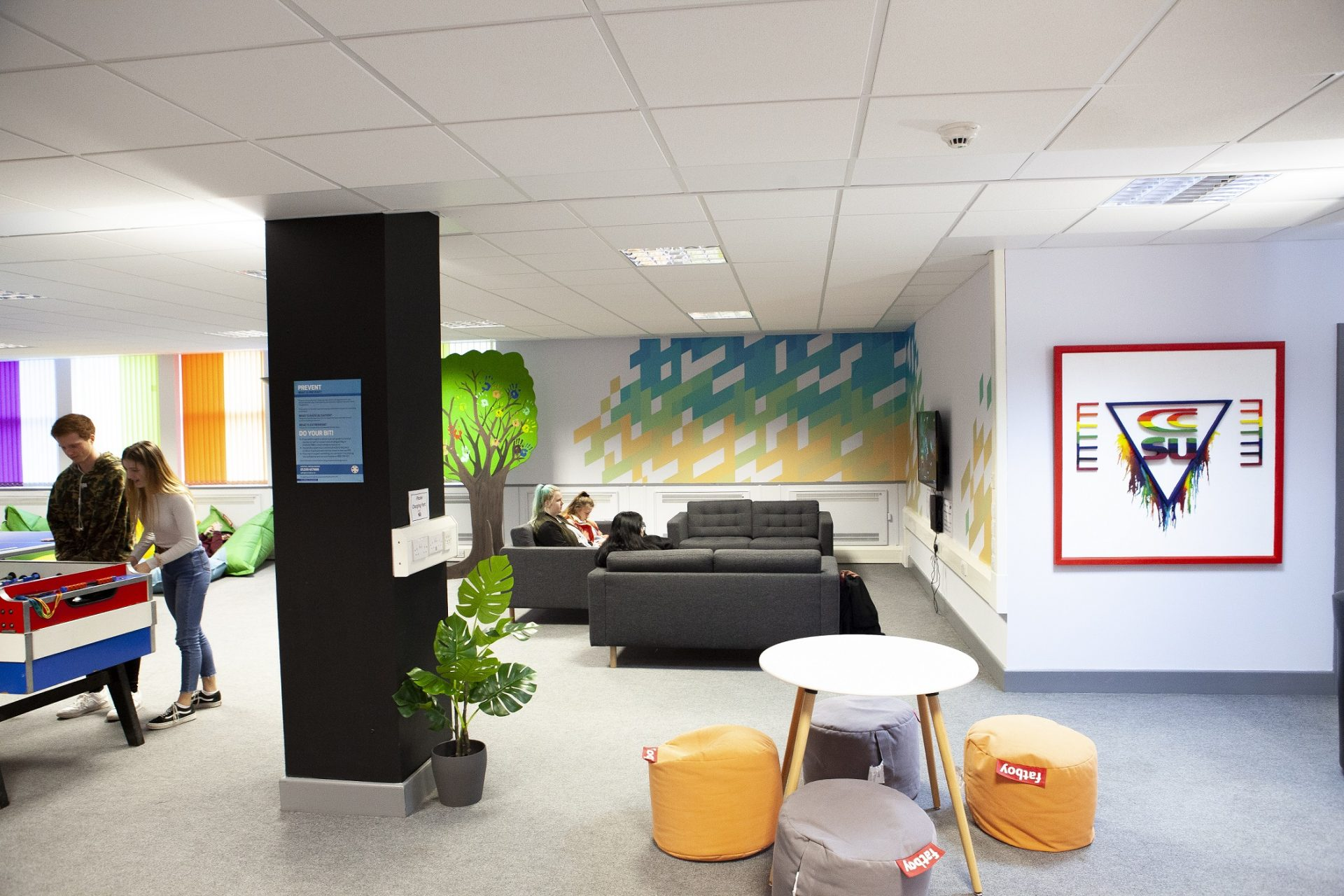 Cornwall College St Austell student zone called The Space - quiet seating area