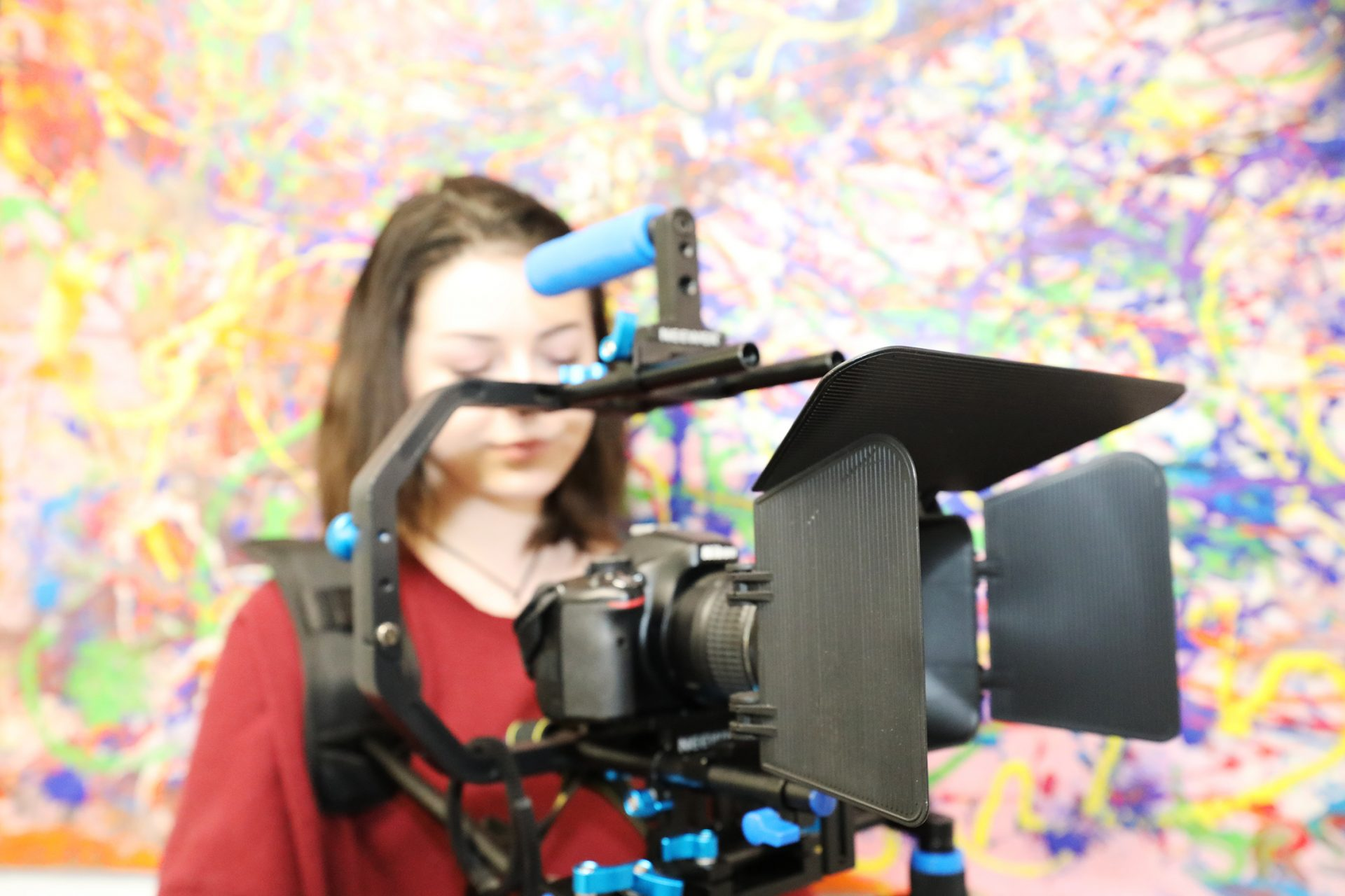 Close up of student filimg at Cornwall College