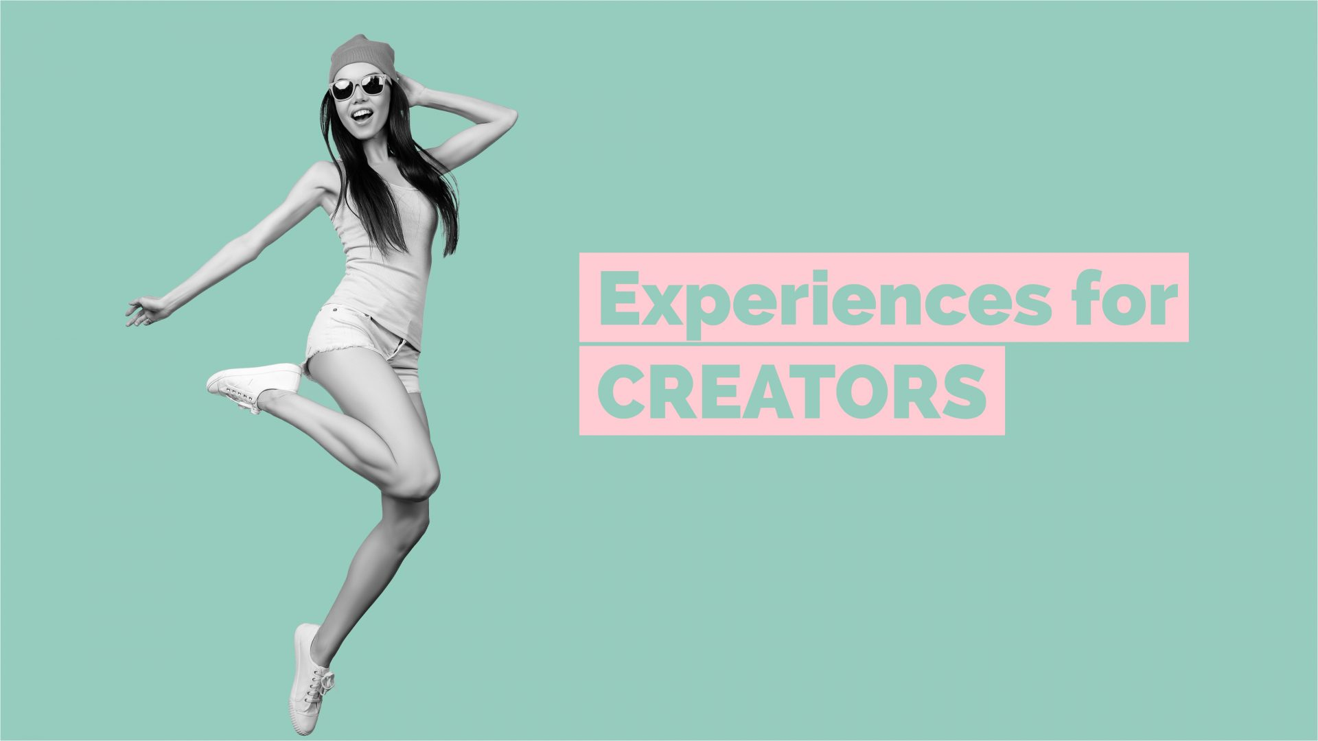 Woman jumping and smiling. Text over image says: Experiences for Creators